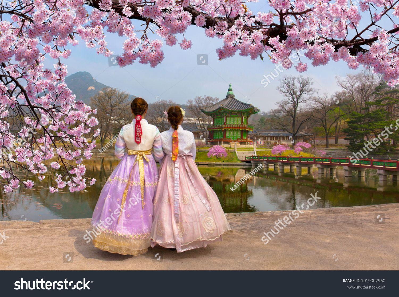 Cherry Blossom In Spring With Korean National Dress At Gyeongbokgung Palace Seoul South Korea Korean National S Seoul Travel Capital Of South Korea South Korea