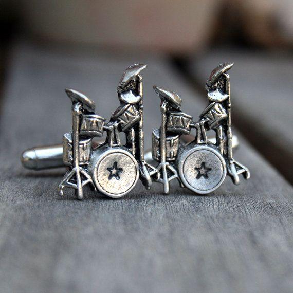 Pewter Drumset Drums Cufflinks