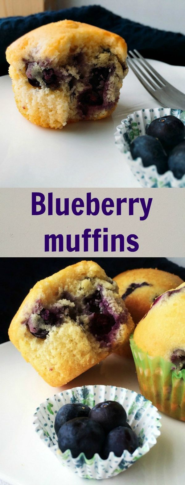 Best blueberry muffins, a healthy recipe for breakfast or snack time.