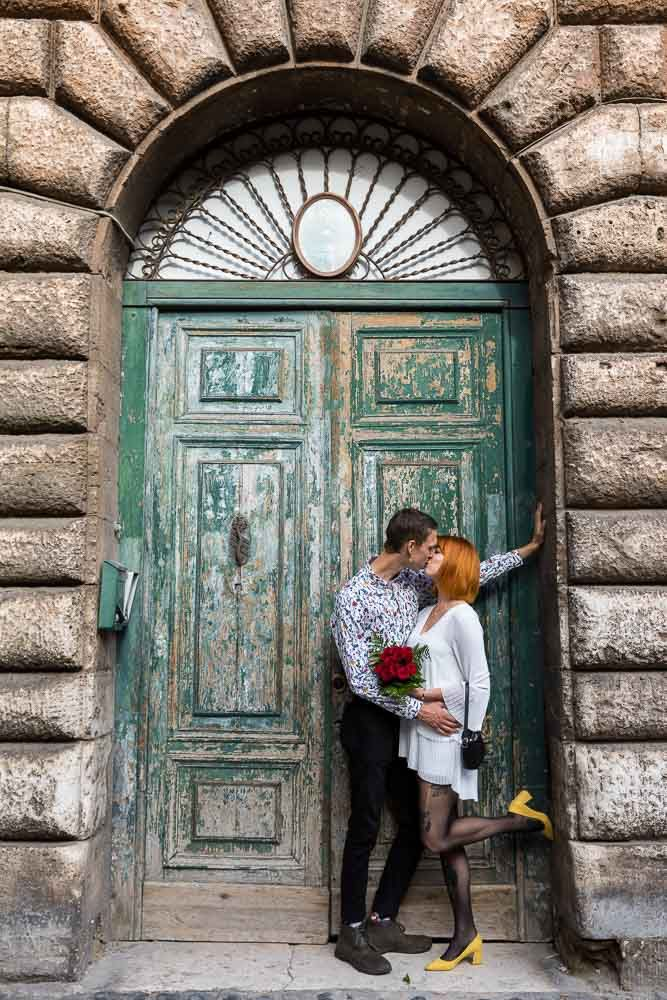 Elopement Wedding Photos in Rome Couples poses for