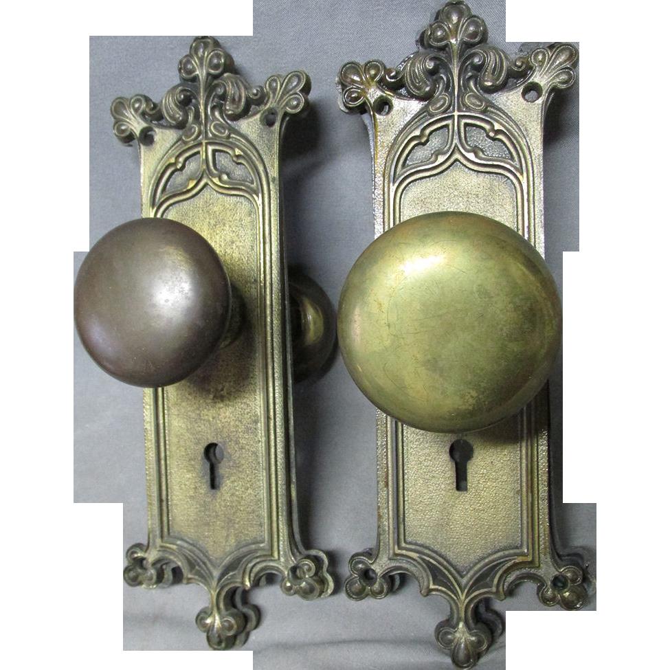 Pair Antique Art Nouveau Door Knobs with Back Plates | Antique art ...