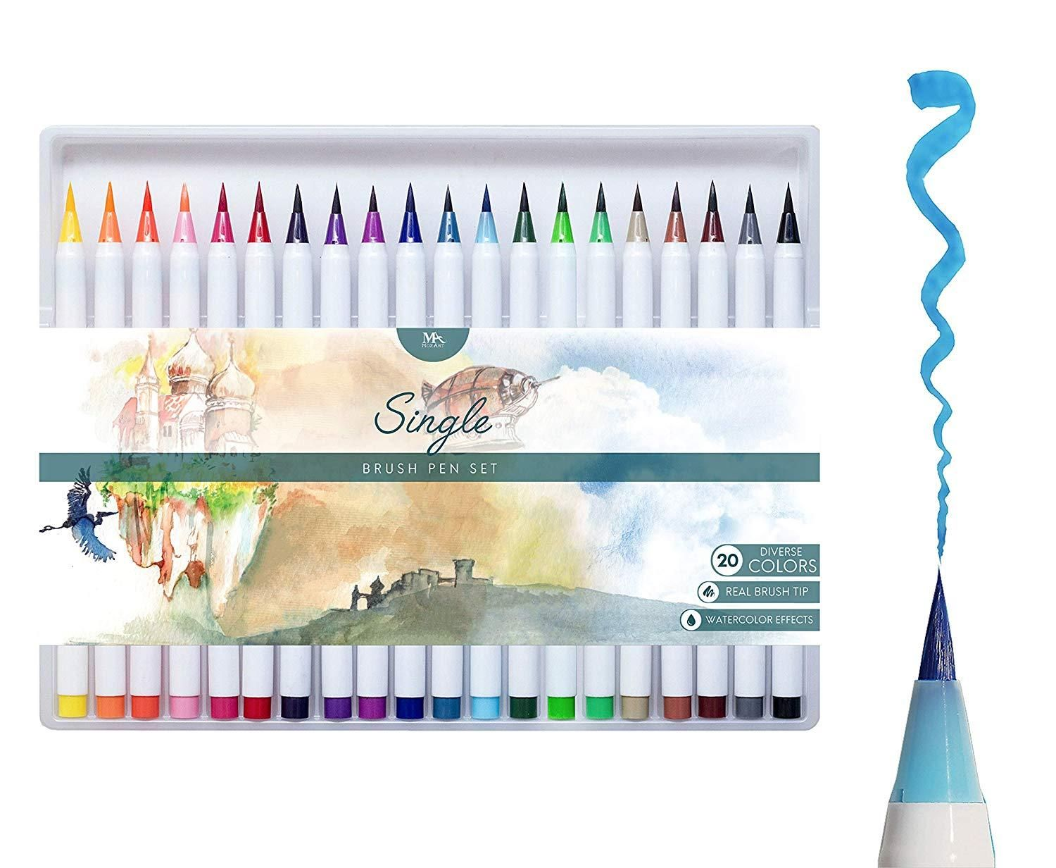 Single Brush Pens 12 Pcs Brush Pen Pen Sets Watercolor Effects