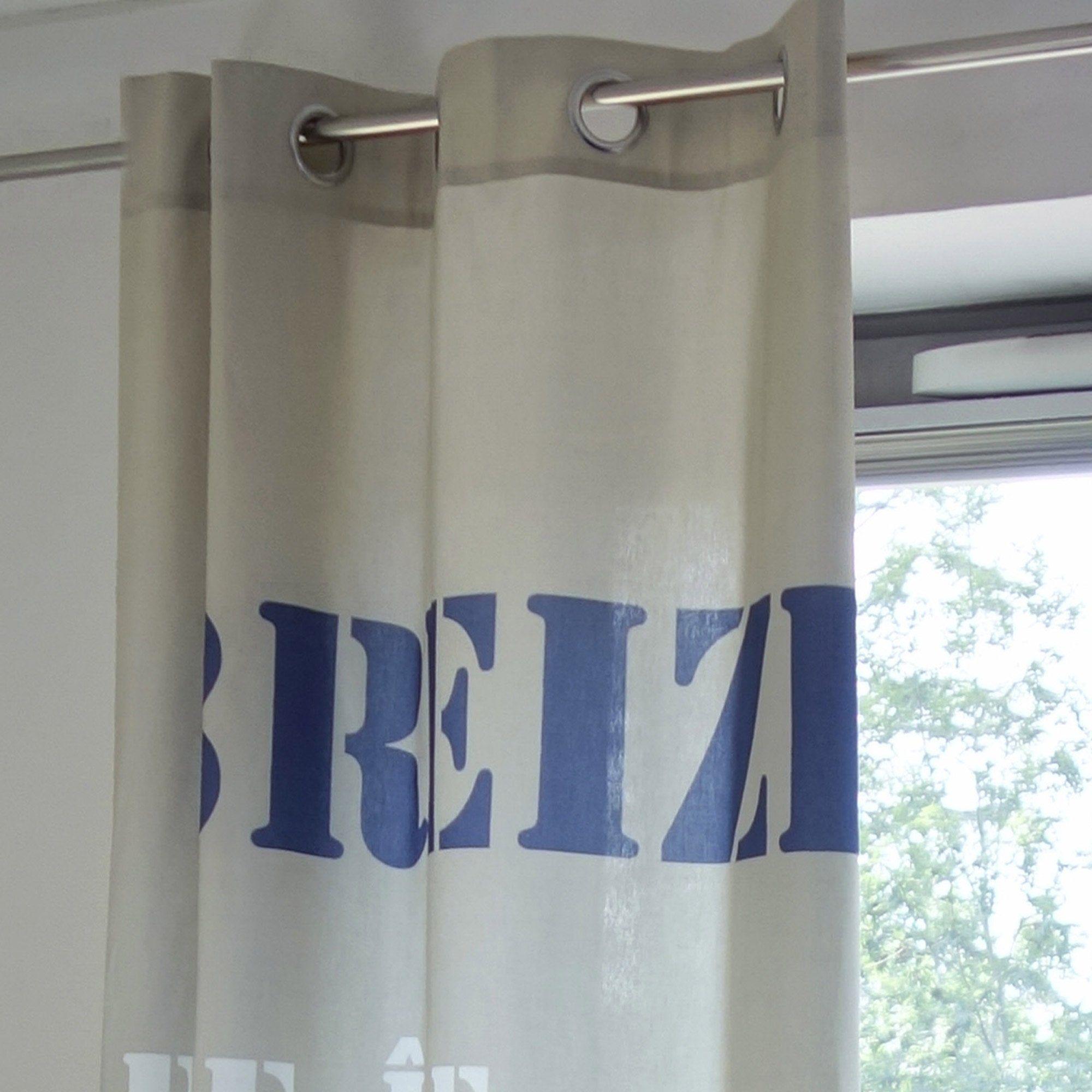 Rideau Tamisant Coton Breizh Noir Et Blanc L 140 X H 250 Cm En 2020 Rideau Noir Et Blanc Rideaux Noirs Et Rideaux