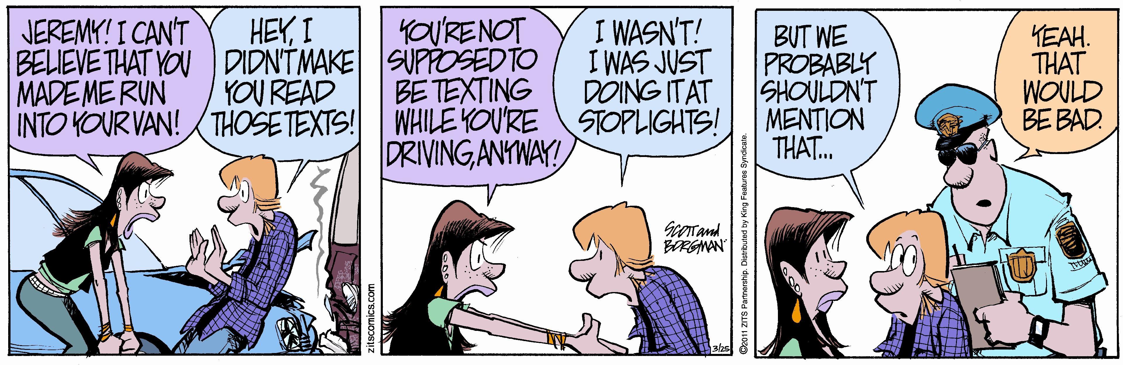 Comic strip driving a manual