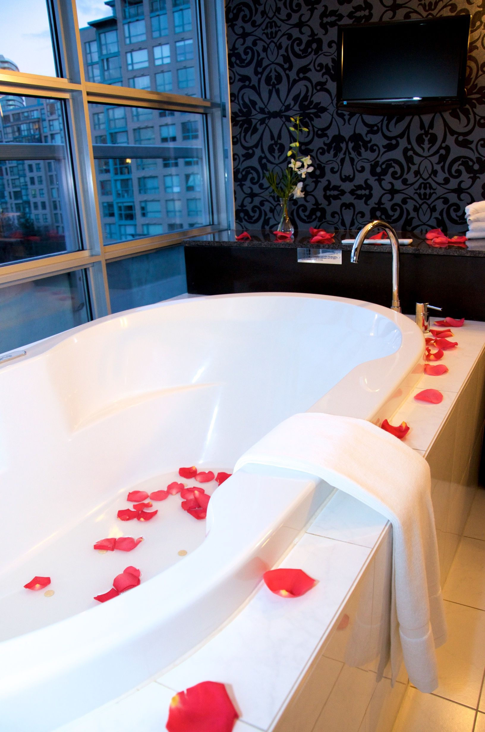 Rose petals and a great view from the bathtub! Surprise Me ...