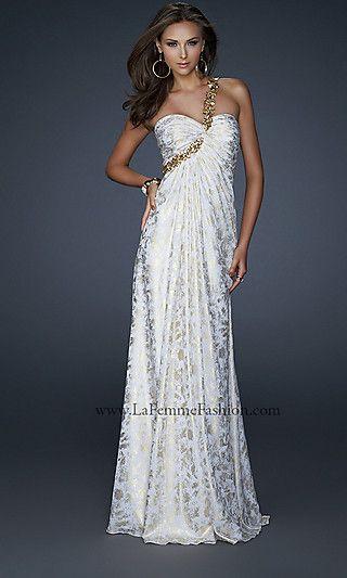 49b9ea861e4 One Shoulder White Gold Prom Dress by La Femme 17805 at PromGirl.com ...