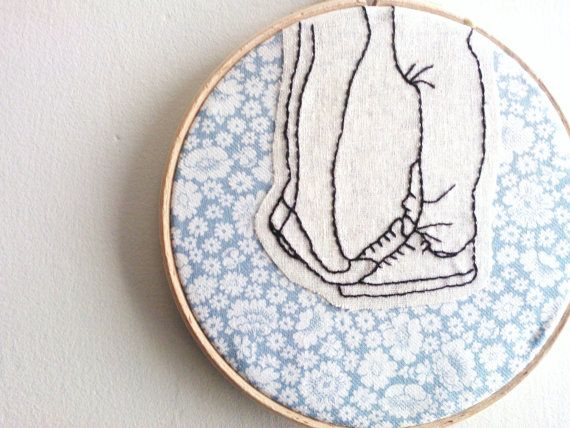 Embroidery Hoop Wall Art - Young Love illustration
