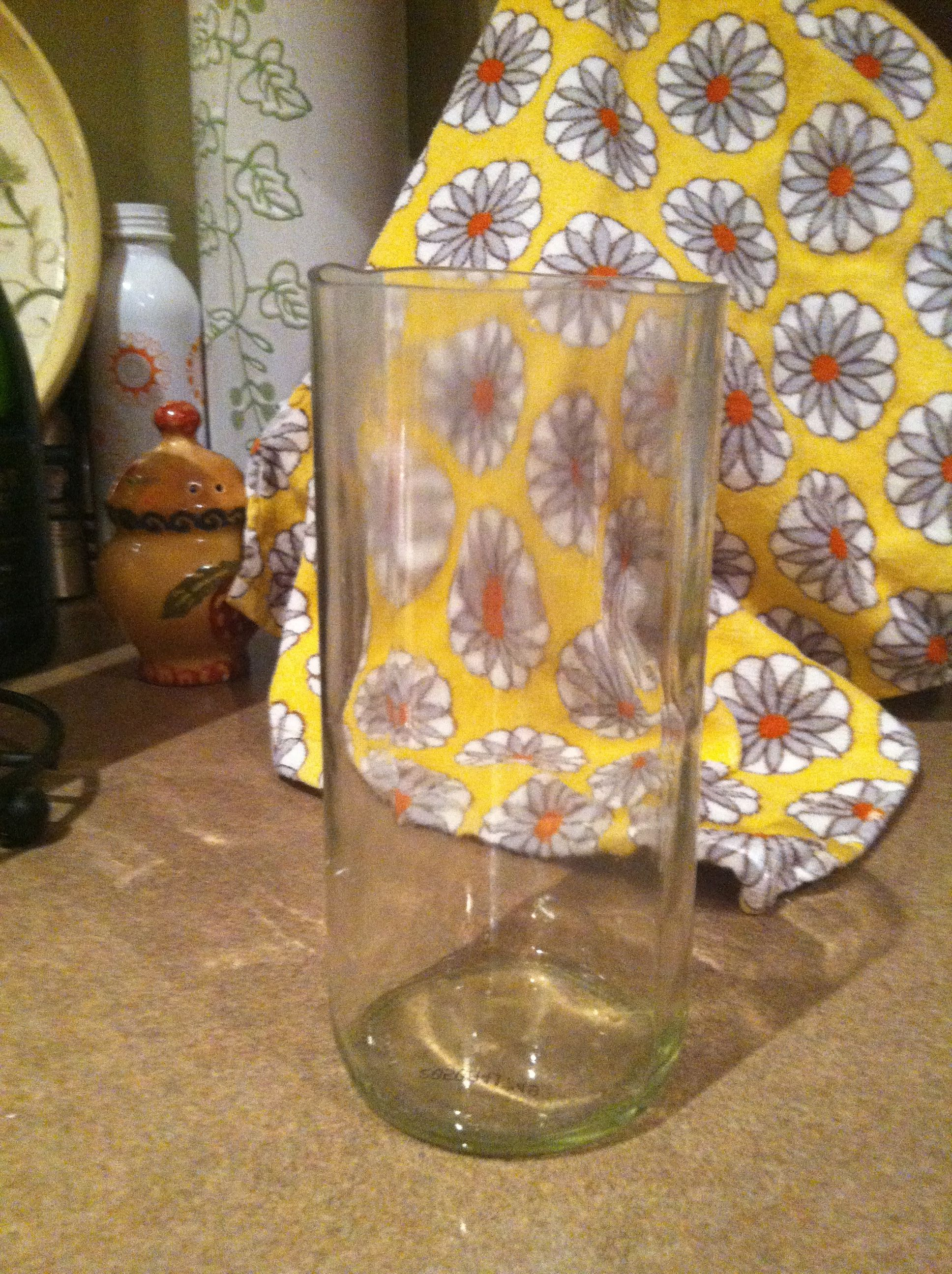 Drinking glass made from a wine bottle