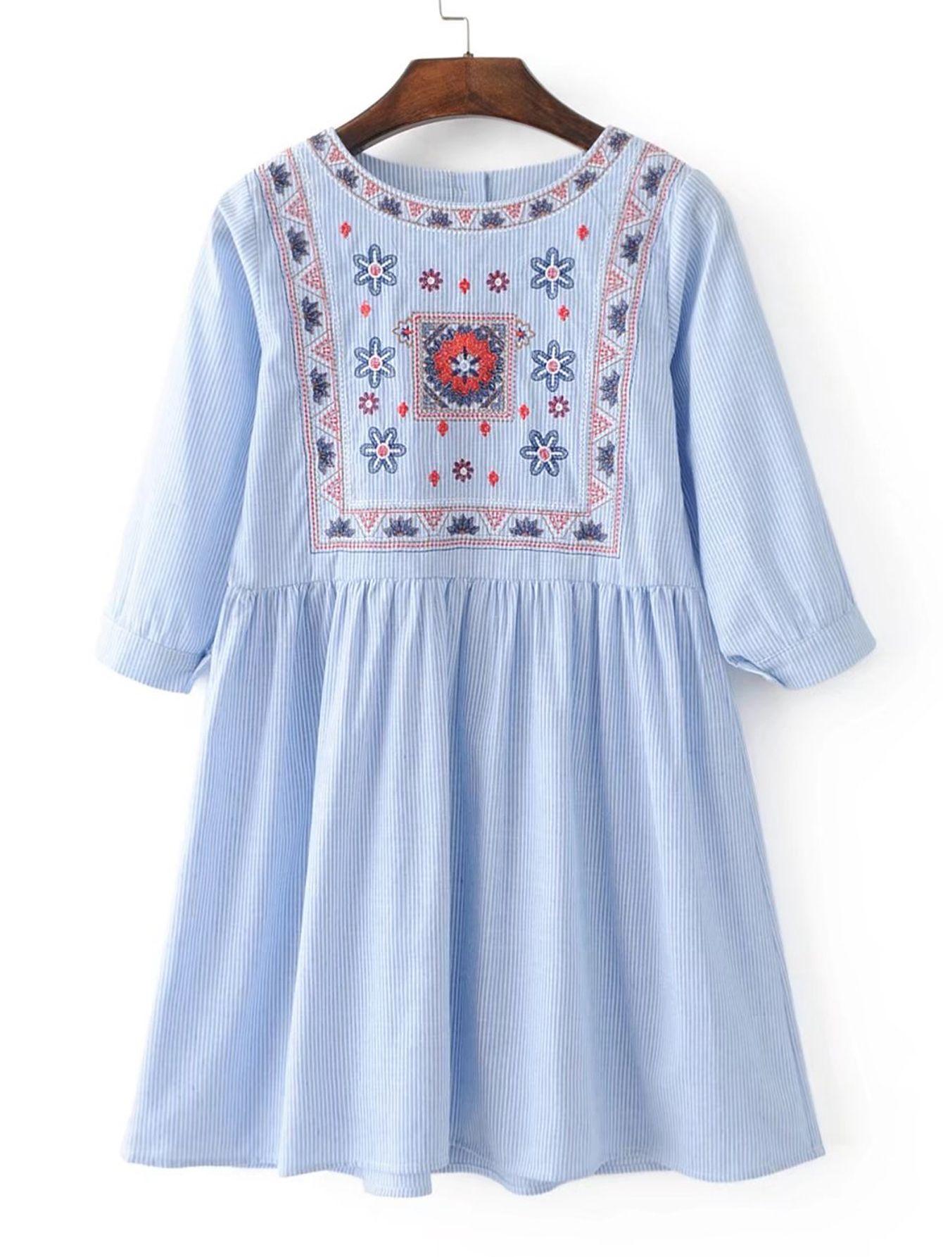 Shop 3 4 Sleeve Pinstripe Shift Dress Online Shein Offers 3 4 Sleeve Pinstripe Shift Dress More T Shirt Dress Casual Casual Summer Dresses Casual Wear Dress [ 1785 x 1340 Pixel ]