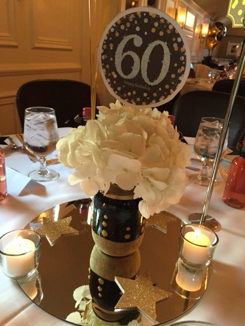 60th Birthday Party Centerpiece In Black And Gold 60 Birthday