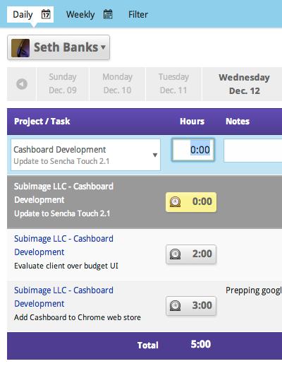 Daily Employee Timesheet  Cashboard App    Timesheet
