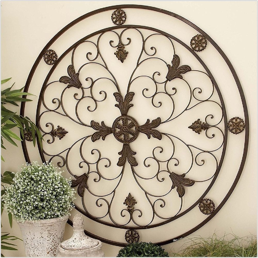 Large Vintage Metal Wall Scroll Wrought Medallion Hanging Art Home