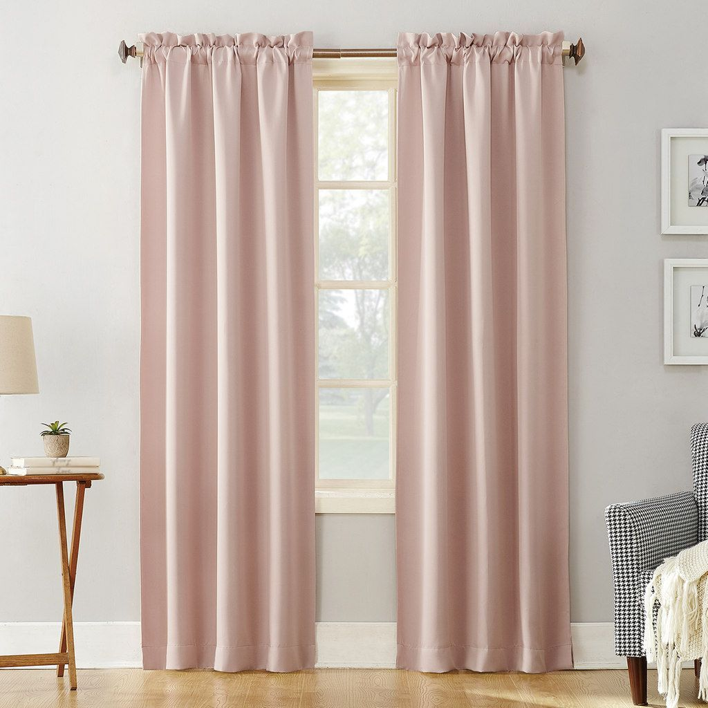Sun Zero Blackout 1 Panel Ludlow Window Curtain Light Pink Rod