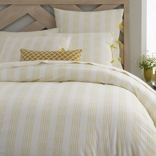 Dotted Stripe Duvet Cover Shams Stone White Peridot West Elm Striped Duvet Covers Duvet Covers Duvet Covers Yellow