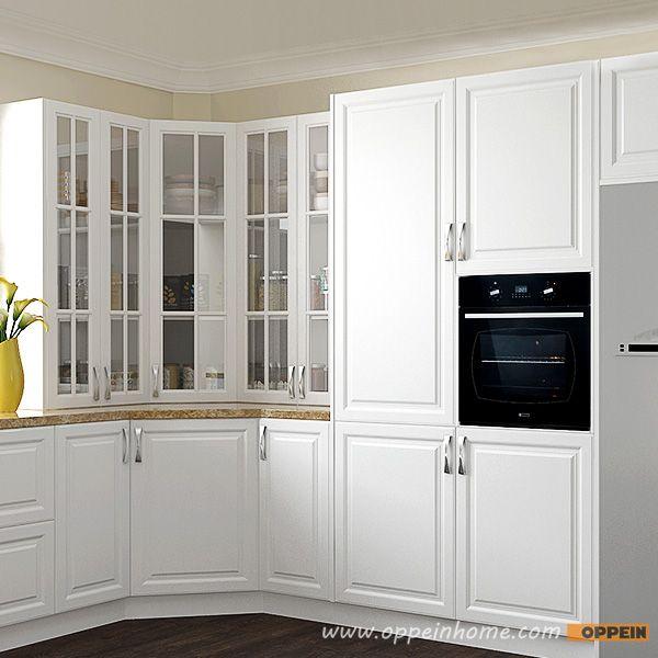 OP16-PVC04: Traditional U-Shape White PVC Kitchen Cabinet ...