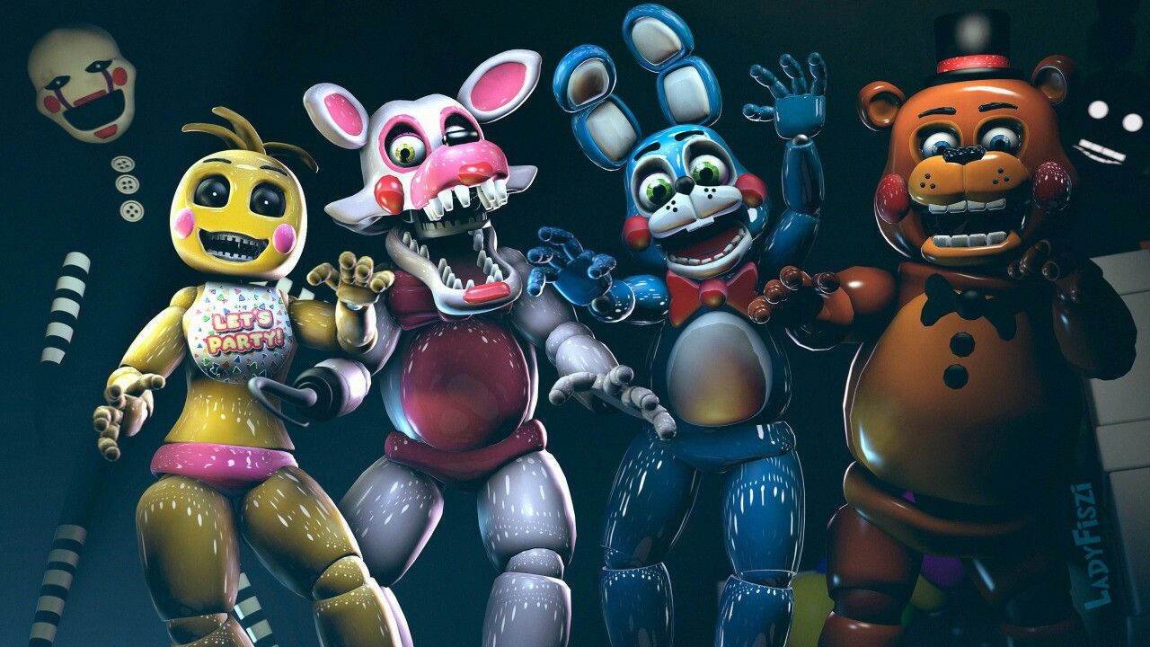 Fnaf 2 PUPPET, MANGLE, BB, TOY CHICA, TOY BONNIE, TOY