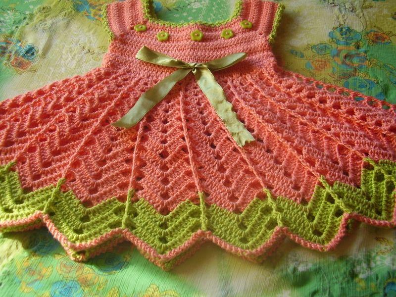Vestidos - Vestido nena en crochet Rosa con Flores - hecho a mano p ...