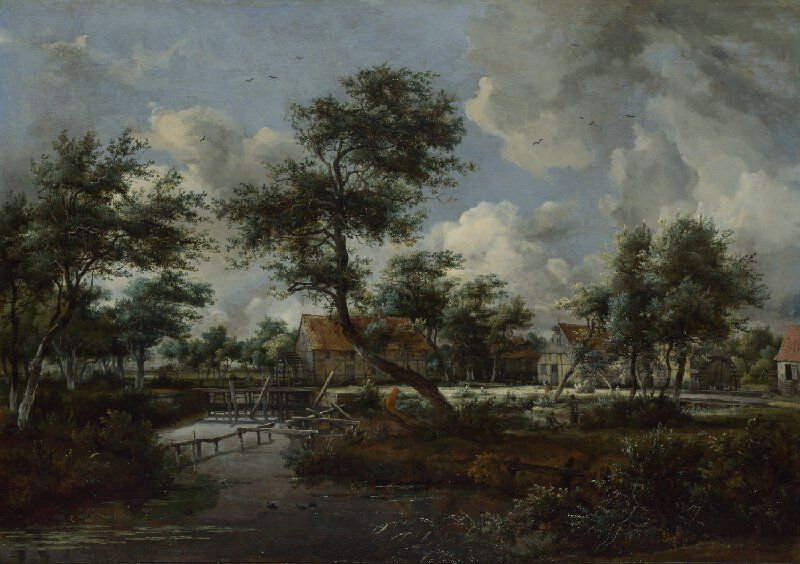 Artist Meindert Hobbema Artist dates 1638 - 1709 Full title The Watermills at Singraven near Denekamp Date madeprobably 1665-70 Medium and support Oil on oak Dimensions 60 x 84.5 cm Inscription summary Signed Acquisition credit Bought, 1871 Inventory number NG832 Location in Gallery Room 22