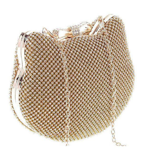 Moda di Lusso Argento Diamante Borse Da Sera della Testa del Gatto Strass Oro Frizione Arco Nodo della borsa di cristallo di scintillio bolsa feminina 1272