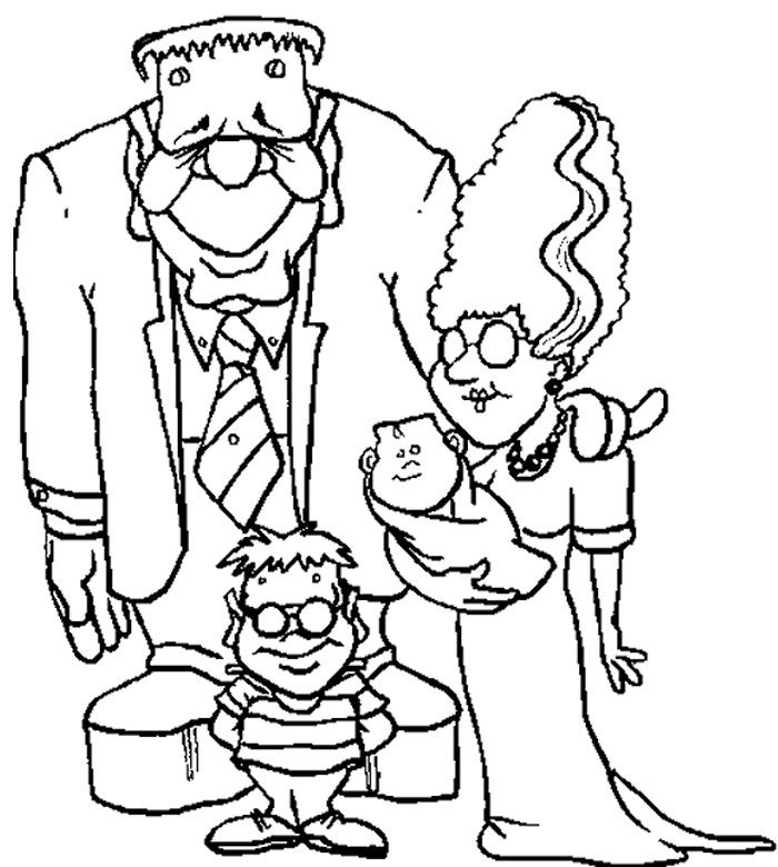 bride of frankenstein coloring pages - family zombie frankenstein coloring page frankenstein 39 s