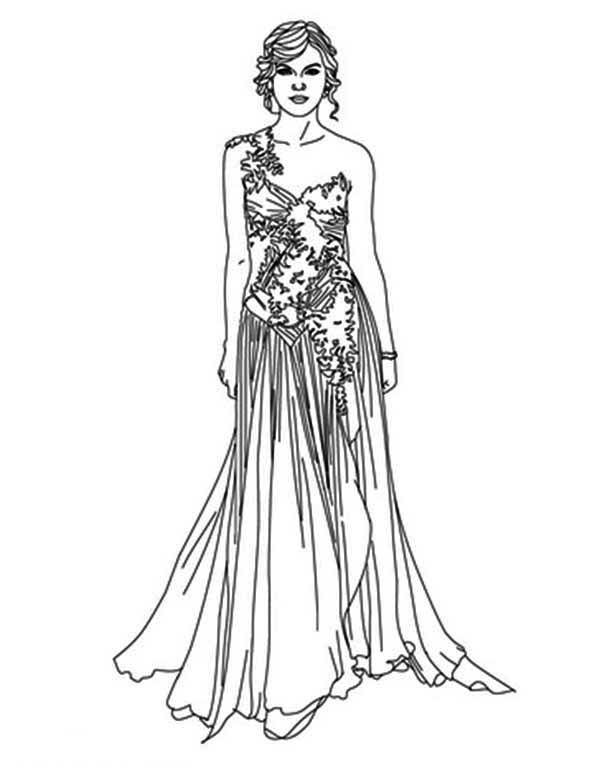 Taylor Swift In Grammy Award Coloring Page Color Luna Princess Coloring Pages Taylor Swift Dress Princess Coloring
