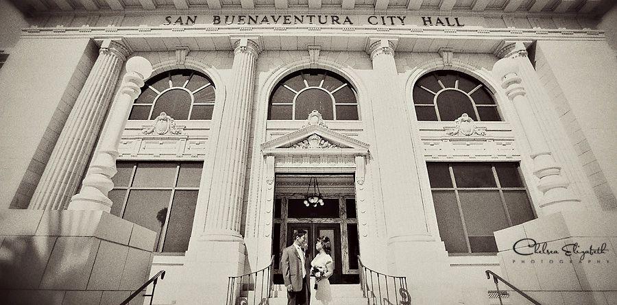 Wedding Ventura City Hall San Buenaventura Vintage Photography Image