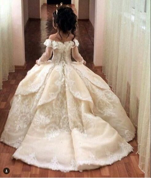 Cheap flower girl dresses for weddings with train lace ball gown cheap flower girl dresses for weddings with train lace ball gown little girls pageant dress white ivory first communion dresses for girls as low as 12061 mightylinksfo