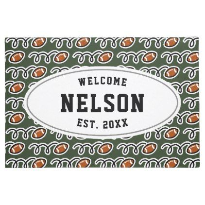 Custom Family Surname Football Pattern Welcome Doormat