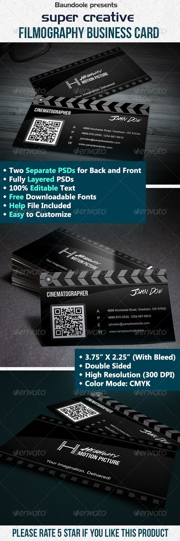 Super Creative Film Making Business Card | Film making, Business ...