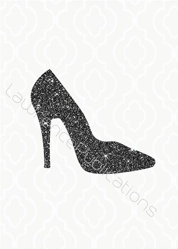 Svg Dxf Png File Black Glitter High Heel Digital Download Fashion Redbottoms Charcoal Glitter Sparkles Clipart Glitter High Heels Black Glitter Heels