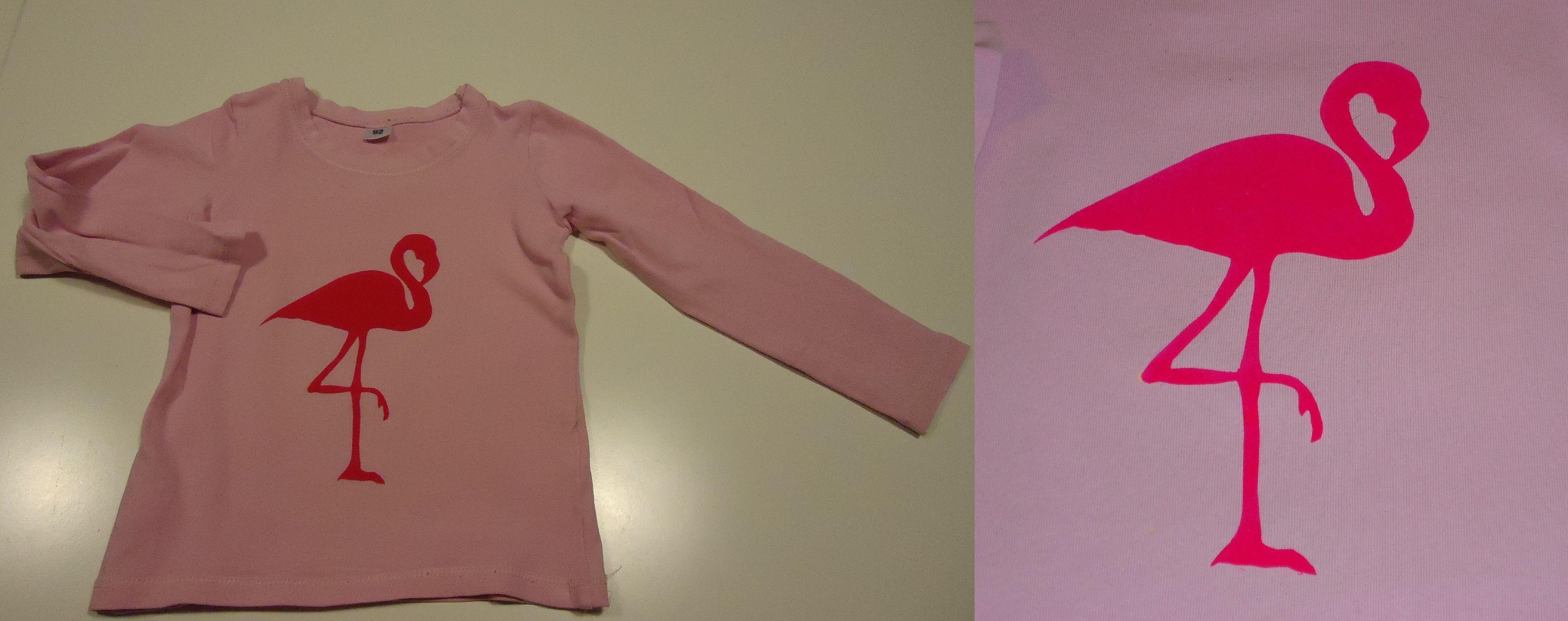 DIY longsleeve roze met fel roze flamingo