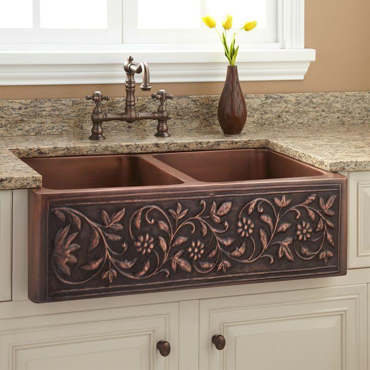 36 Vine Design Double Bowl Copper Farmhouse Sink Copper Farmhouse Sinks Farmhouse Sink Kitchen Home Kitchens