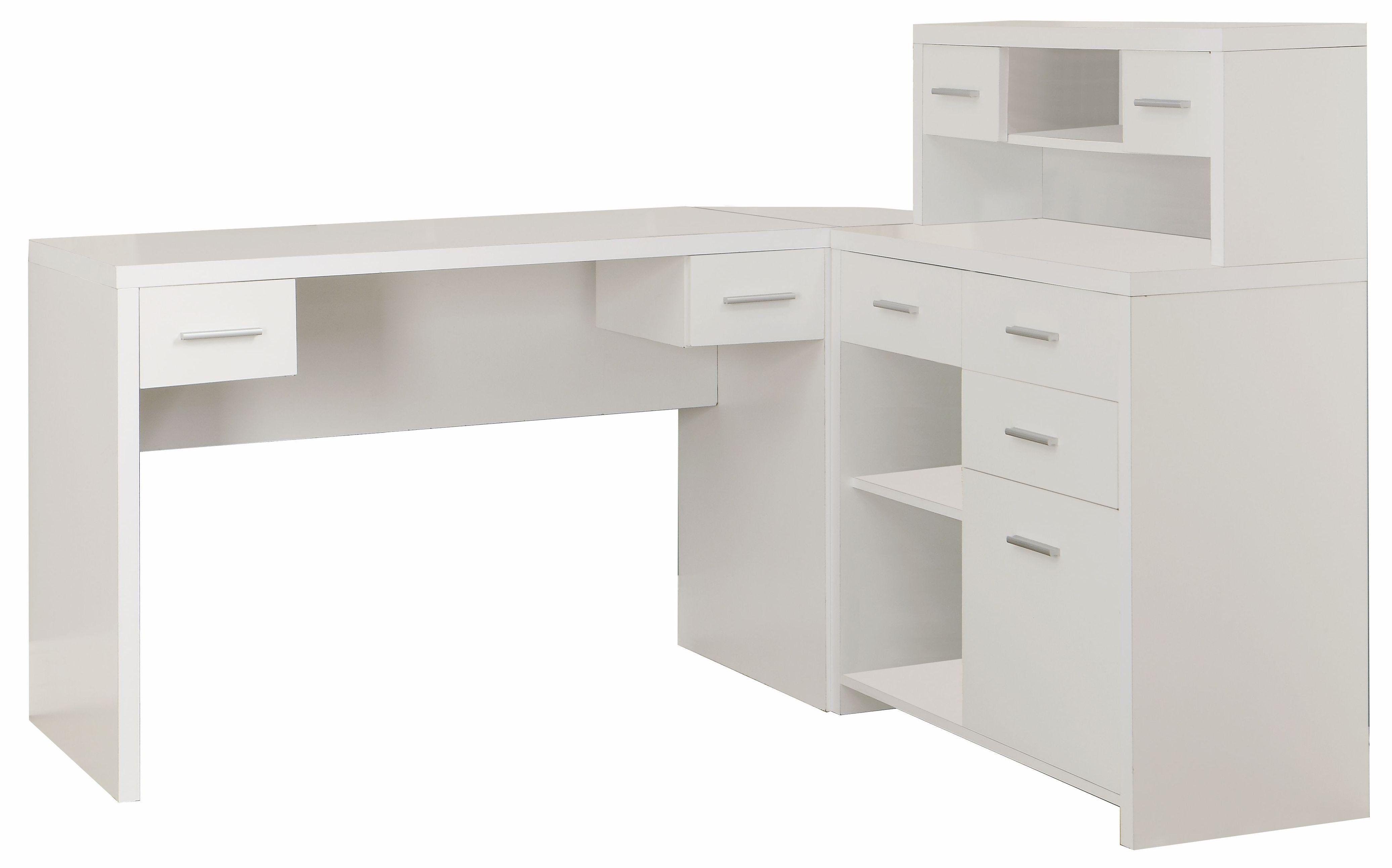 Sleek White Finished L Shaped Corner Office Desk With Storage In 2020 White Desks Home Office Desks Office Desk For Sale