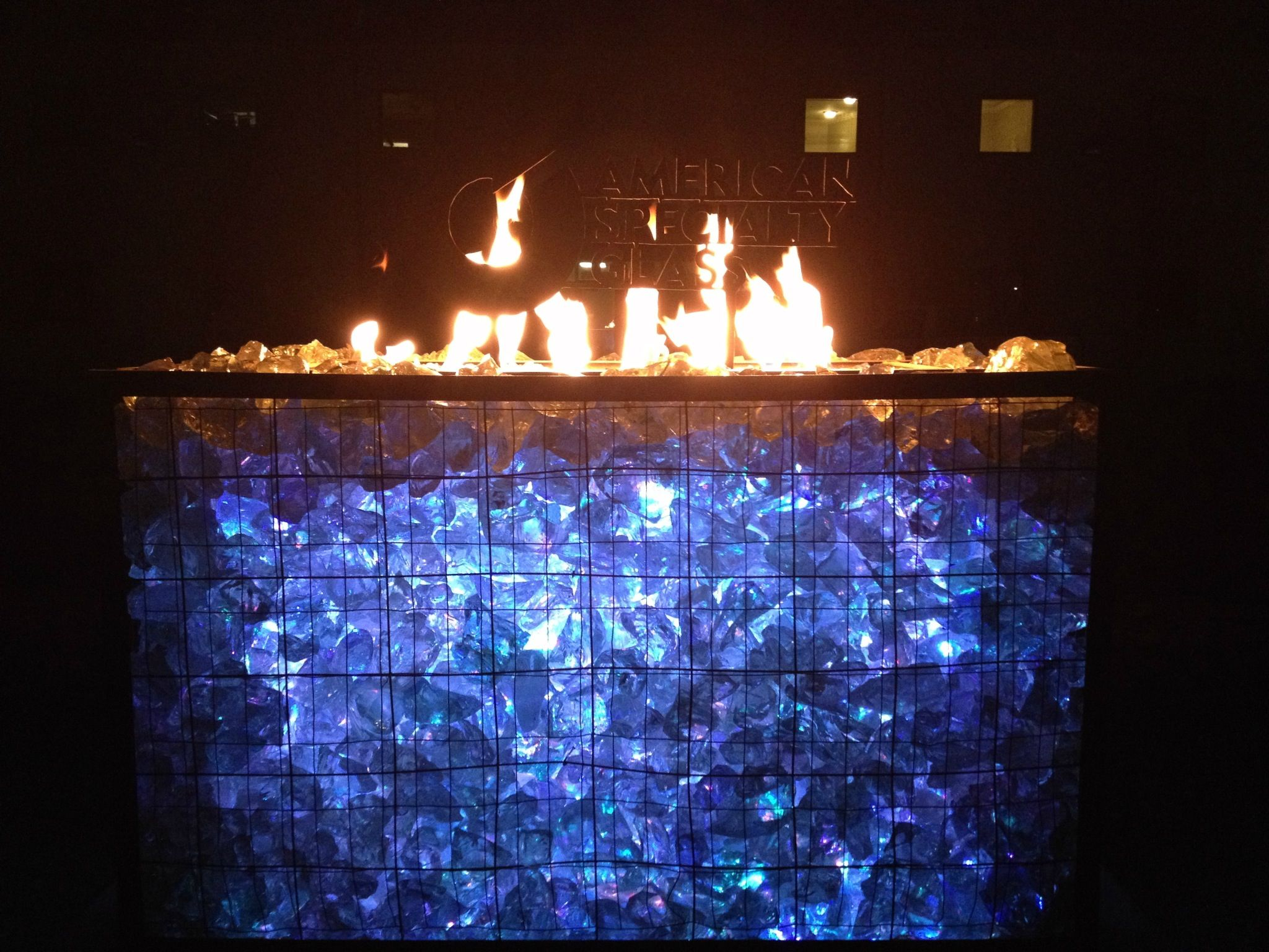 gabion firepit from american specialty glass to order glass like