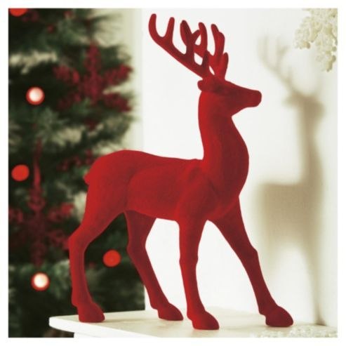 Plastic Christmas Cake Decorations Tesco : Tesco Red Flocked Reindeer Christmas Decoration ...