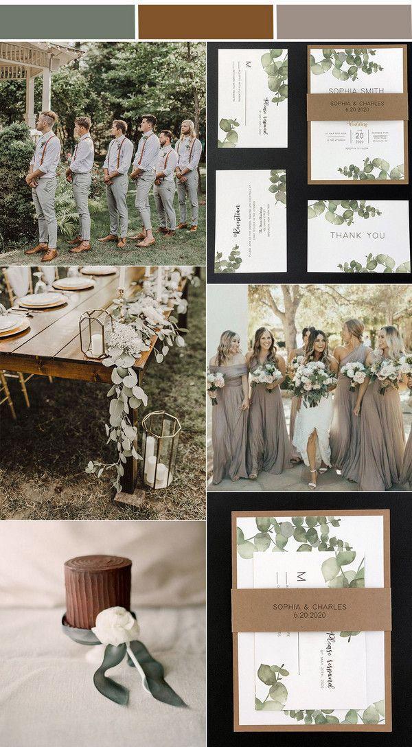 Rustic Greenery Wedding Invitations with Free RSVP