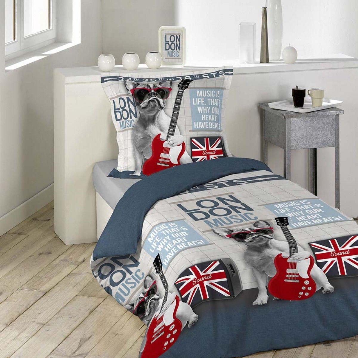 Housse De Couette City Dog 140x200cm 100 Coton Comforter Sets Bed Bedroom Decor