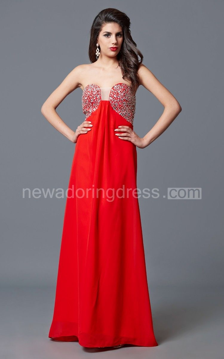 Sleeveless beaded bust chiffon gown with empire waist cheap prom