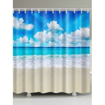 Beach Scenery Extra Long Bath Decor Shower Curtain With Images