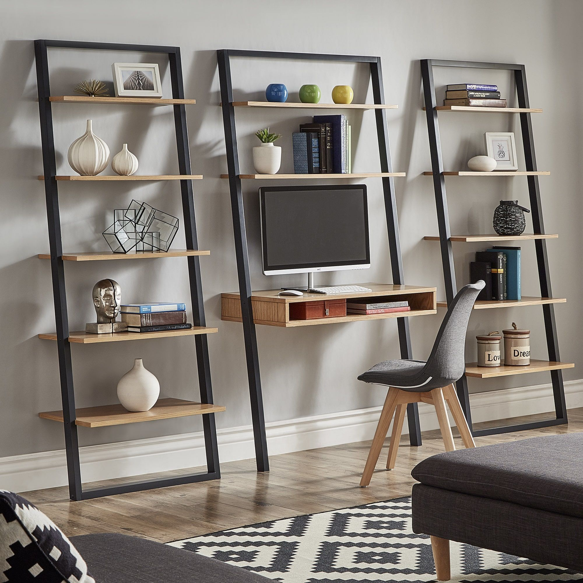 Ranell Leaning Desk Ladder Shelves By Inspire Q Modern Leaning Bookcase Black Muebles Leaning Desk Ladder Shelf Leaning Bookcase