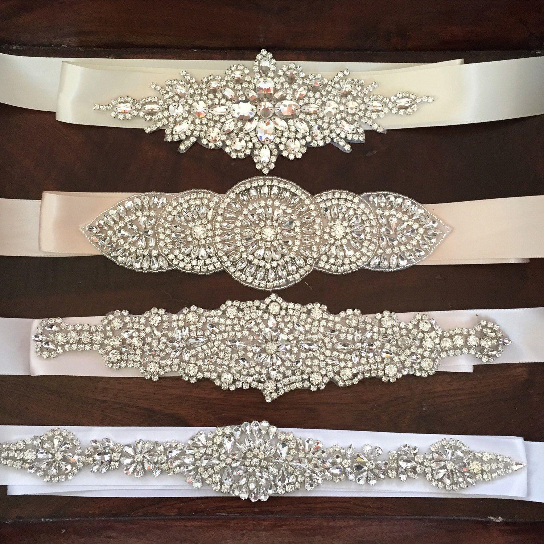 Crystal rhinestone bridal belts bridal belts and sashes for Wedding dress bling belts