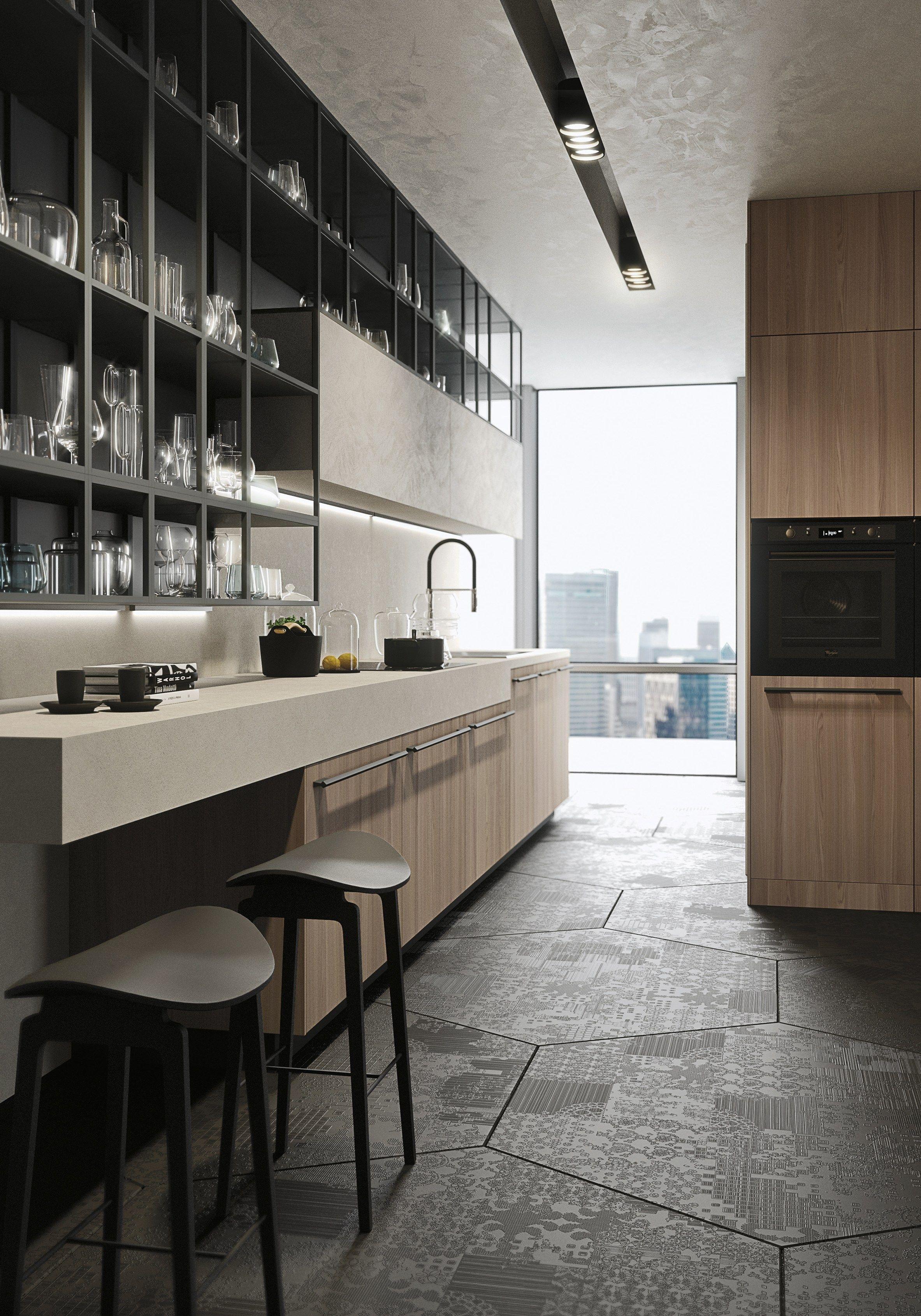 Cocina integral lineal con tiradores opera cocina lineal - Tiradores de cocina modernos ...