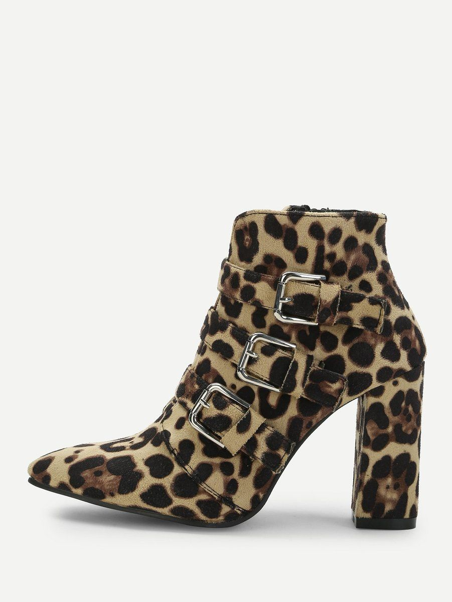 45831f48aea3 Buckle Leopard Ankle Boots in 2019 | Shoe Whore | Leopard ankle ...