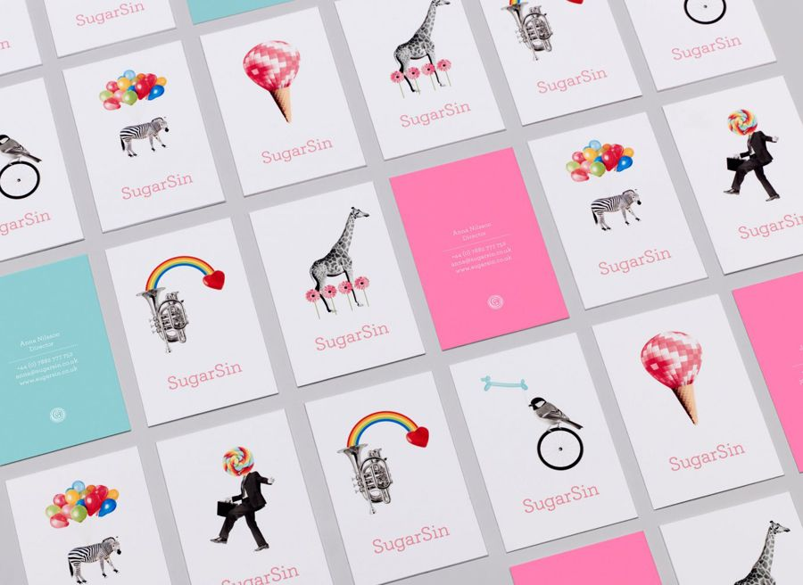 Logotype and business cards designed by &Smith for confectionery shop SugarSin