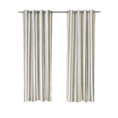 Sol 72 Outdoor Dejon Decor Striped Semi Sheer Outdoor Grommet