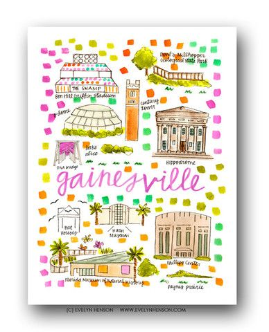 Gainesville Fl Map Print City Prints Pinterest Evelyn Henson