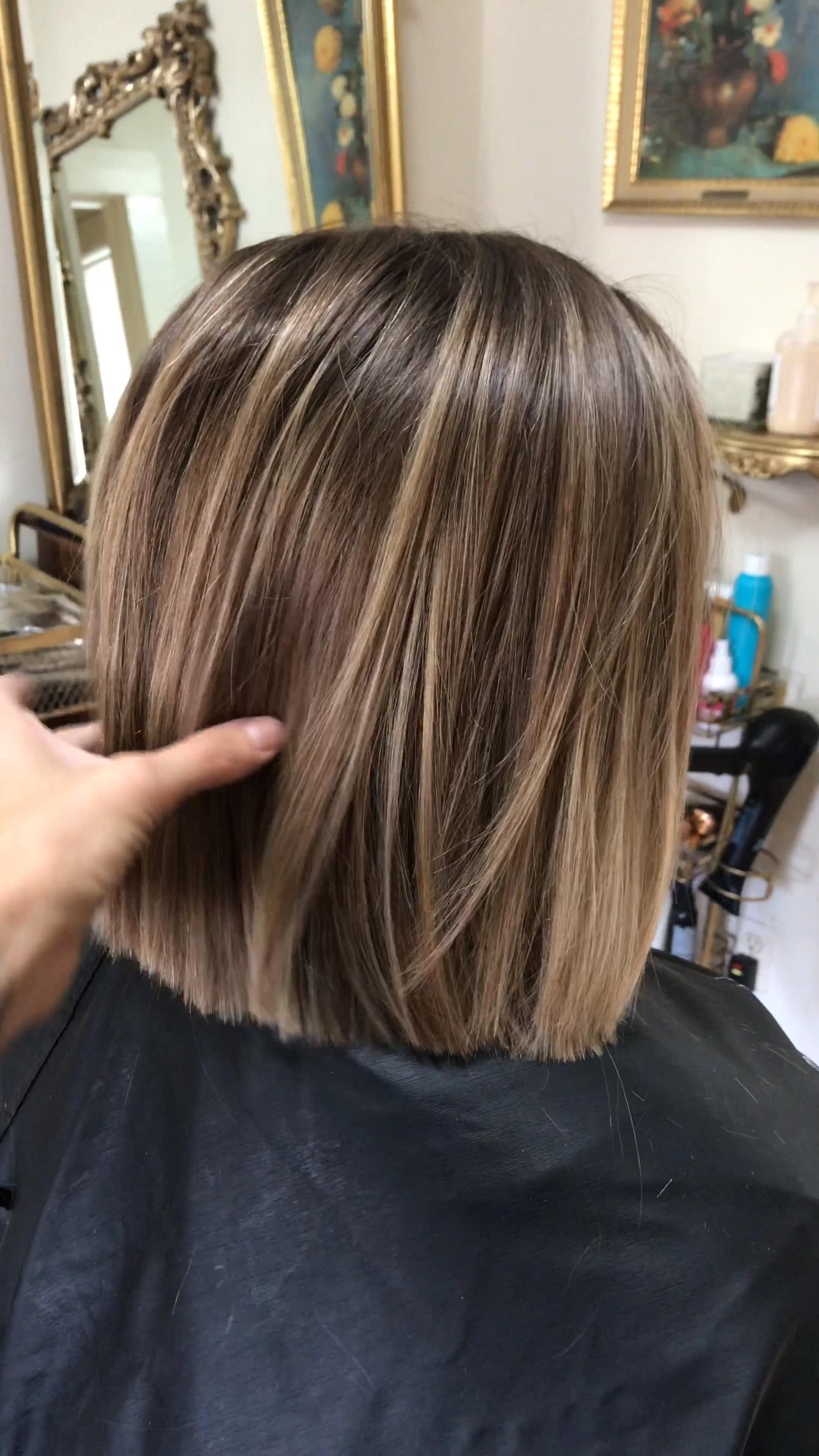 Bob haircut with soft blonde balayage