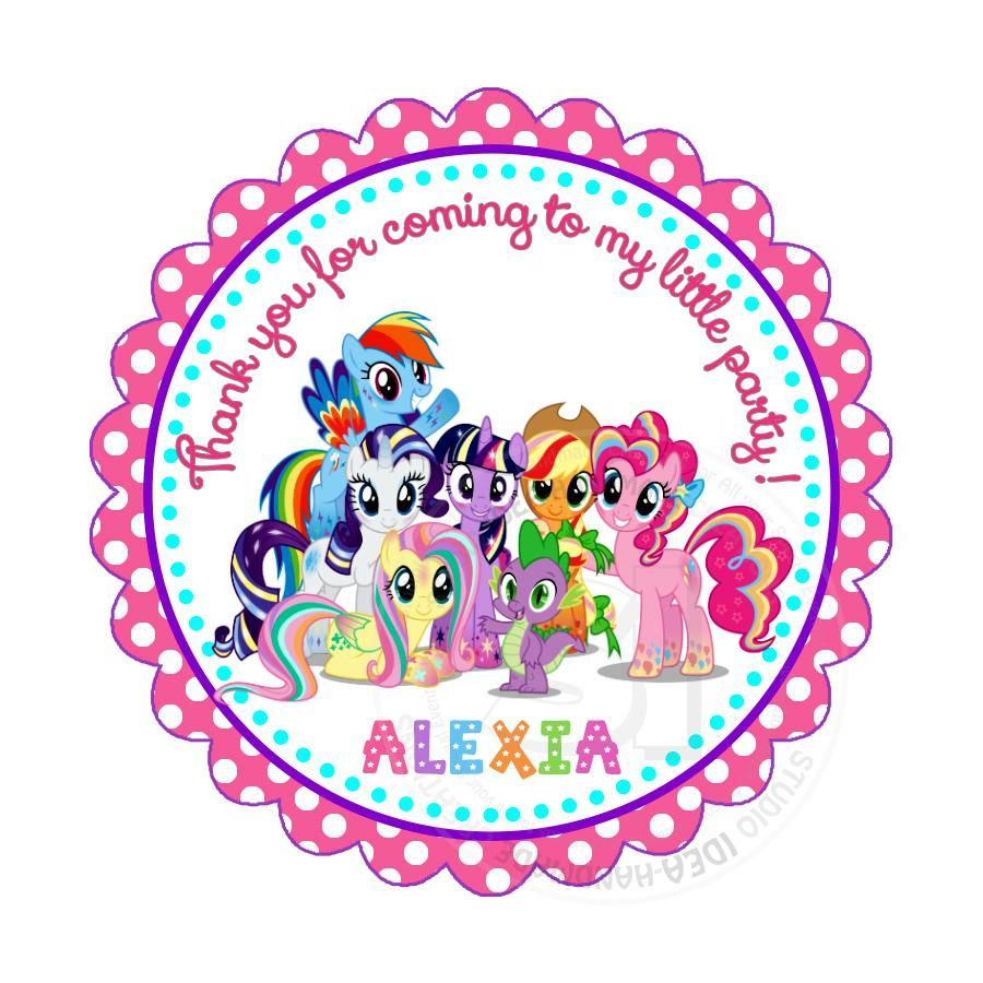Custom My Little Pony Birthday Thank You Printable 2 5 Tags Personalized Little Pony Birthday Party Thank You 2 5 Inches Tags Stickers Diy Birthday Favor Tags My Little Pony Birthday Little Pony Birthday Party