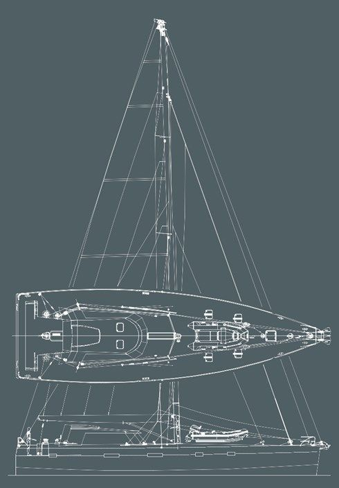 Early concept design drawings, sail plan and deck
