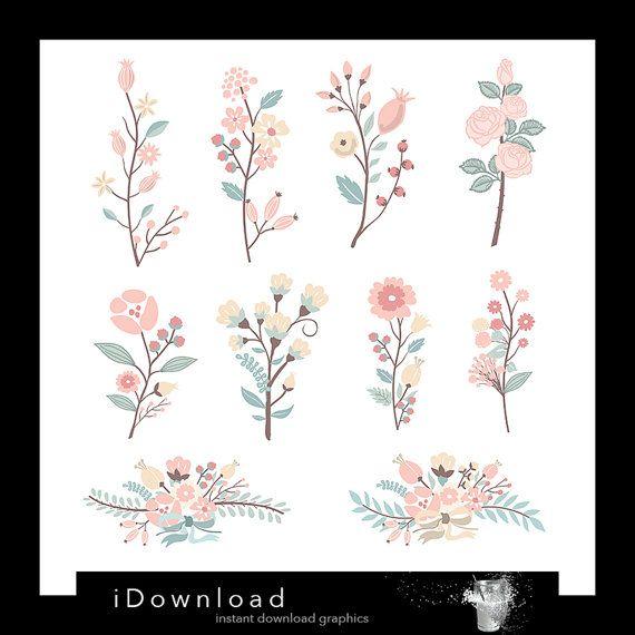Hand Drawn flowers clipart, flower bouquet clip art, wedding ...